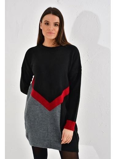 Cottonmood 20026083 Triko Yumoş Iplik 3 Renkli Intersiye Tunik Siyah